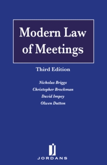 Modern Law of Meetings, Hardback Book